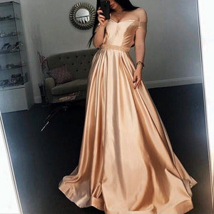 Off-the-shoulder Beading Long Satin Evening Ball Gown Prom Dresses