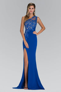 One-shoulder Sheath/Column Lace Applique Split Long Evening Dresses