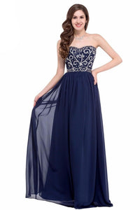 A-line Chiffon Strapless Beading Lace-up Long Evening Dresses