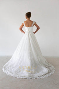 Ball-Gown Bateau Neckline Court Train Lace Wedding Dress With Beading