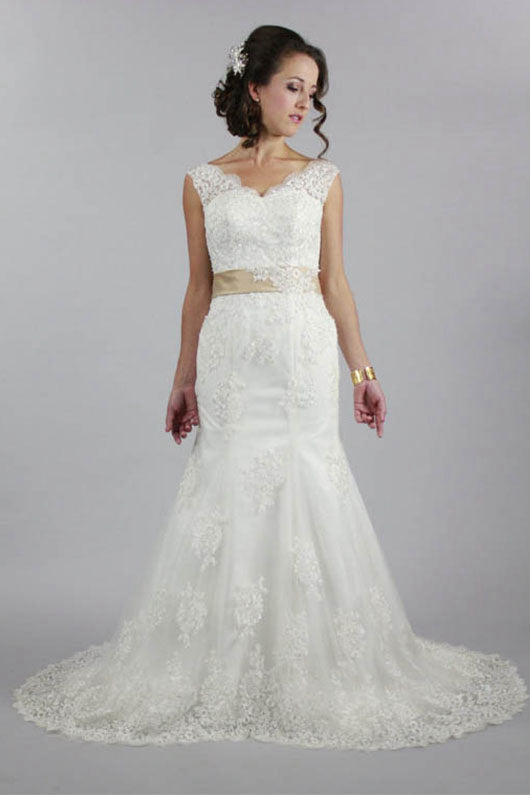 V-Neck Lace Wedding Dress with Bow(s)