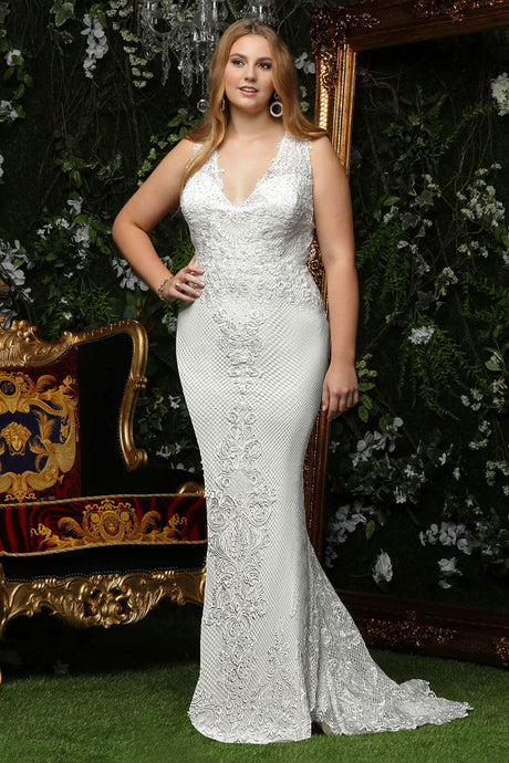 Trumpet/Mermaid V-neck Lace Plus Size Wedding Dress
