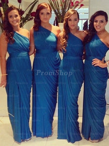 A-Line One-Shoulder Floor-Length Chiffon Bridesmaid Dress With Ruffle Design