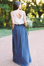 V-Neck Sleeveless Chiffon A-Line Long Bridesmaid Dress