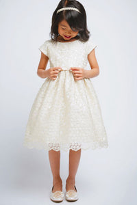 A-Line/Princess Knee-length Gold Flower Girl Dress with Bow(s)