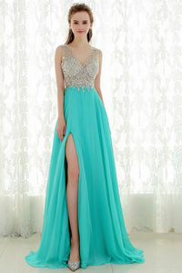 Empire V-neck Long Prom Dress with Beading