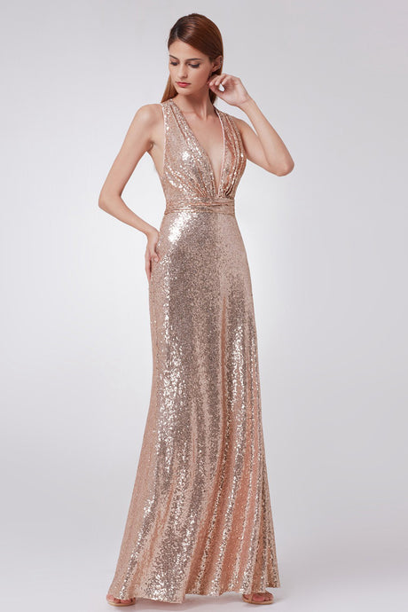 Sheath/Column Sequined V-neck Sexy Prom Dress With Sequins