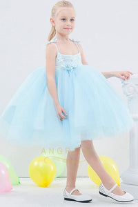 Ball-Gown Spaghetti Straps Toddler Flower Girl Dress with Flower(s)