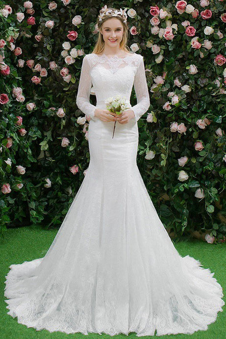 Trumpet/Mermaid Chapel Train Lace Wedding Dress with Long Sleeves