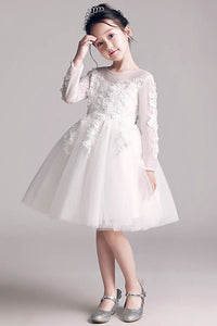 A-Line/Princess Scoop Neck White Flower Girl Dress With Long Sleeves