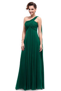 One-Shoulder Floor-Length Chiffon Bridesmaid Dress With Ruffle Design