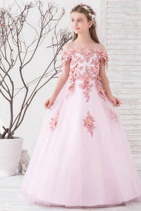 Ball-Gown Off-the-Shoulder Flower Girl Dress with Flower(s)