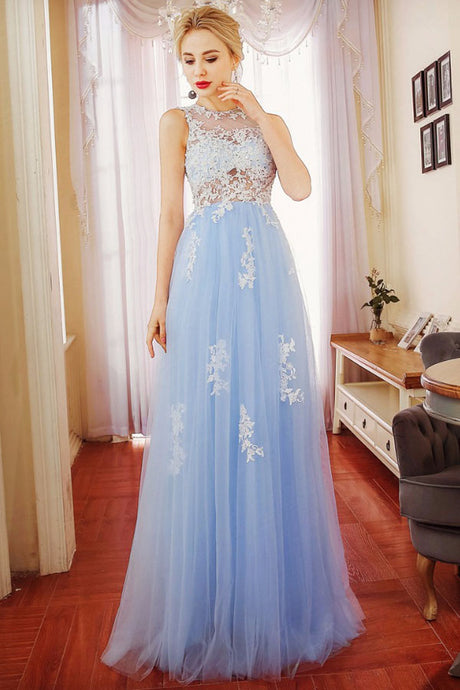 Sheath/Column Scoop Neck Backless Prom Dress with Appliques
