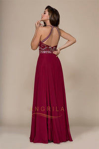 A-Line Halter Chiffon Long Prom Dress with Beading