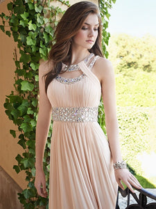 Adorable  A-line Sleeveless Beading Pleated Chiffon Floor-length Prom Dresses