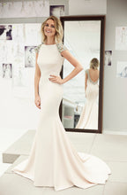 Trumpet/Mermaid Beading Cap Sleeves Backless Long Satin Formal Dresses