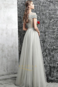 A-Line/Princess Scoop Neck Long Evening Dress with Ruffle