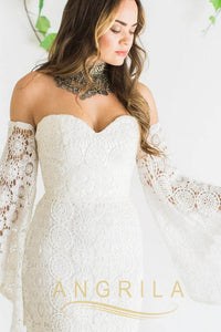 Sweetheart Sweep Train Lace Wedding Dress with Sleeves