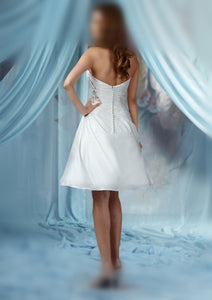 Strapless A-line Beading Pleated Above-Knee Length Beach Wedding Dresses