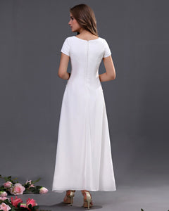 A-line Scoop Ankle-length Chiffon Long Bridesmaid Dresses with Short Sleeves