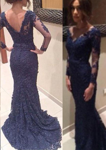 Long Sleeves Mermaid V-neck Applique Sweep Train Lace Evening Dresses