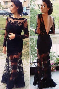 Black Trumpet/Mermaid Long Sleeves Applique Sweep Train Lace Evening Dresses