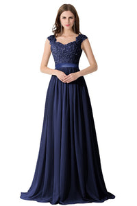 A-line/Princess V-neck Sleeveless Zipper Up at Side Long Chiffon Bridesmaid Dresses