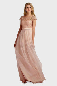 Classic A-line Cap Sleeves Bateau Lace & Tulle Floor-length Bridesmaid Dresses