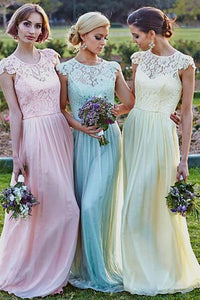 A-Line Cap Sleeves Bateau Neckline Lace Chiffon Floor-length Bridesmaid Dresses