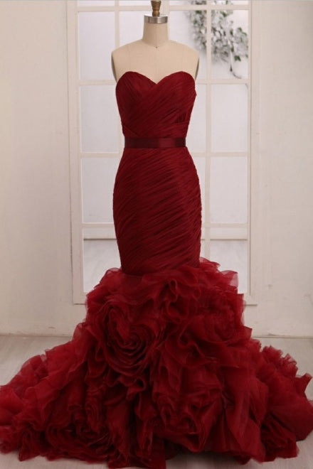 Dignified Trumpet/Mermaid Strapless Sweetheart Tiered Long Prom Dresses