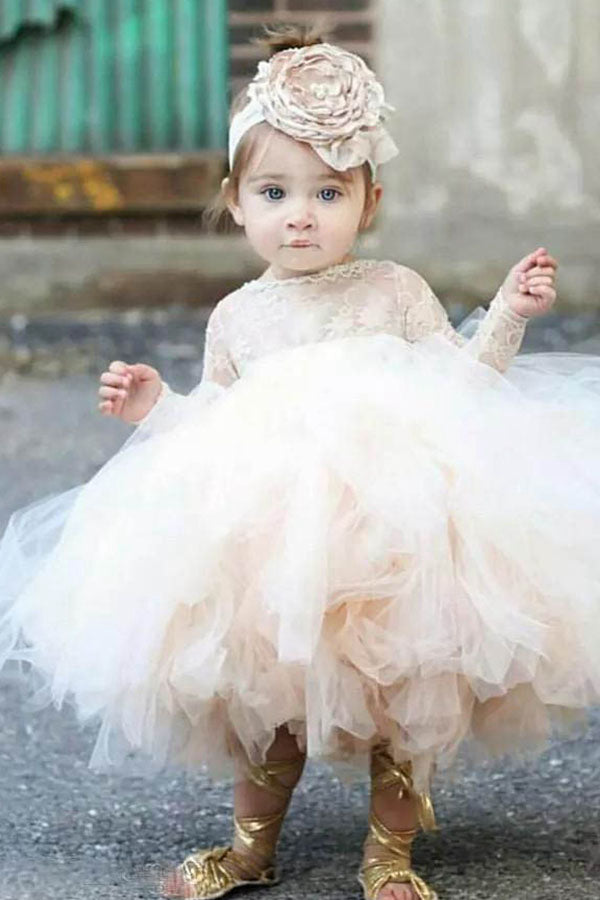Cute Ball-Gown Scoop Neck Toddler Flower Girl Dress with Long ...