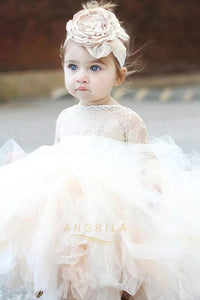 Cute Ball-Gown Scoop Neck Toddler Flower Girl Dress with Long Sleeves