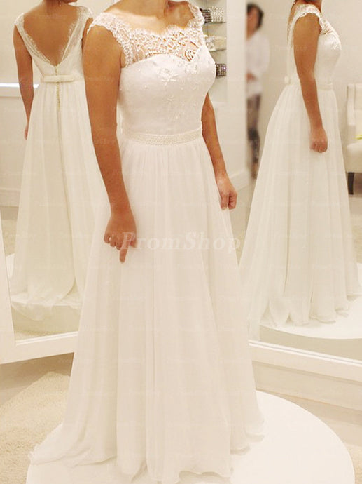 A-Line Illusion Back V-design Floor Length Wedding Dress With Bow