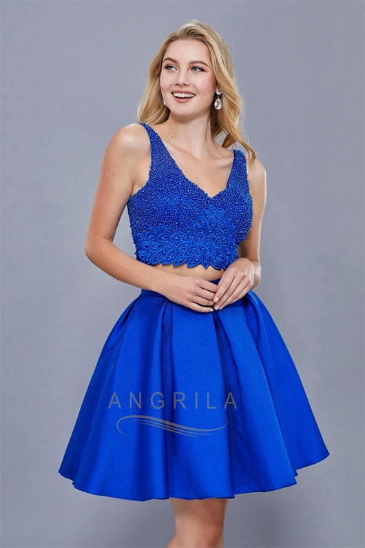 A-Line/Princess V-neck Short Two Piece Prom Dress with Beading