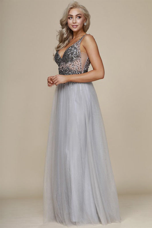 A-Line/Princess V-neck Tulle Long Prom Dress with Sequins