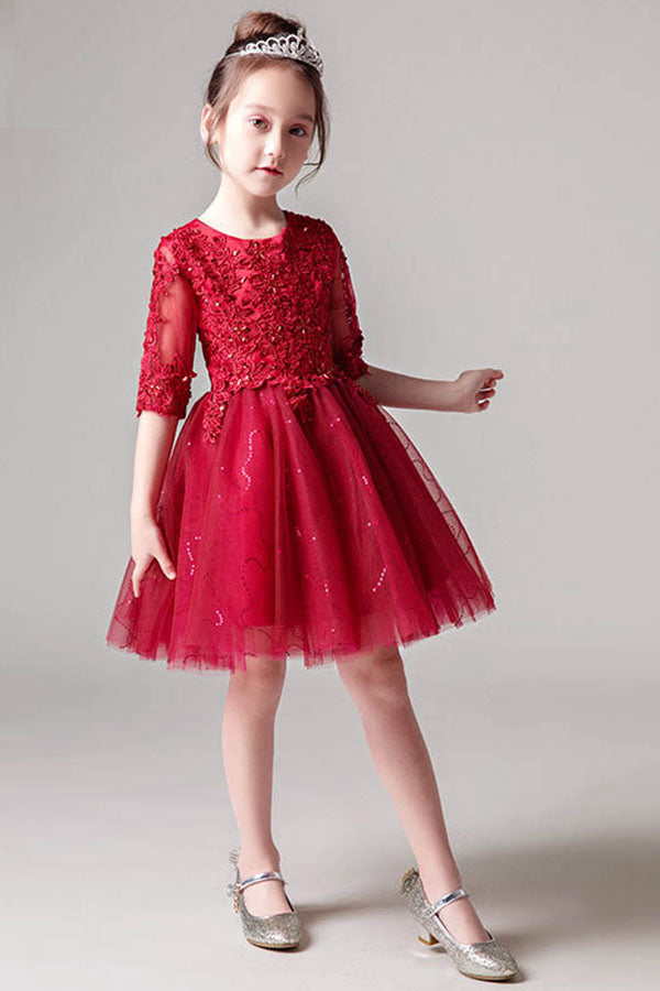 A-Line/Princess Scoop Neck Red Flower Girl Dress with 1/2 Sleeves