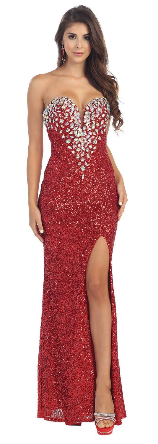 Sheath/Column Strapless Sweetheart Front Split Beading Long Sequined Formal Evening Dresses