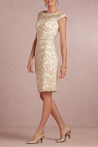 Sheath/Column Cap sleeves Knee-length Lace Appliques Mother Of The Bride Dresses
