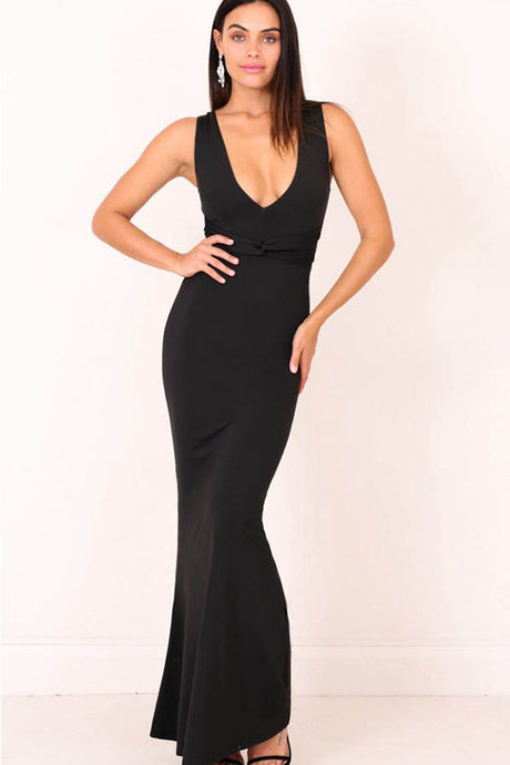 Sheath/Column V-neck Sexy Prom Dress with Sash