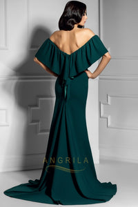 Trumpet/Mermaid Sweep Train Off-the-Shoulder Long Evening Dress with Split Front