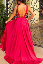 Simple Deep V-Neck Satin A-Line Long Prom Dress