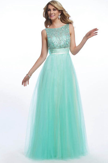 A-line/Princess Bateau Long Beading Prom Dresses