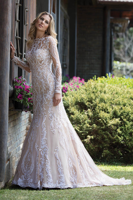 Empire Sweep Train Lace Wedding Dress with Long Sleeves