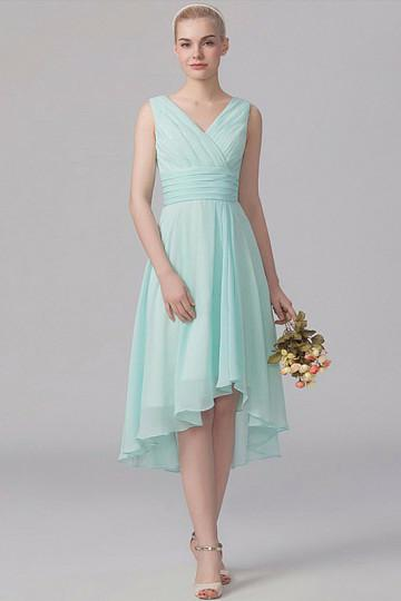 A-Line/Princess V-neck Short Chiffon Bridesmaid Dress With Ruffle