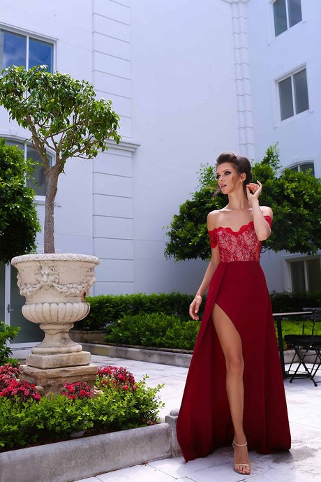 A-line/Princess Off-the-shoulder Split Long Lace Chiffon Prom Dresses