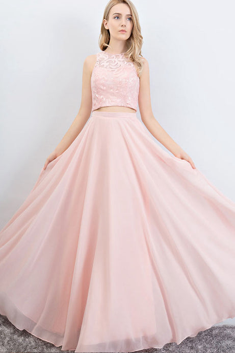Two Piece A-Line/Princess Chiffon Prom Dress With Sequins