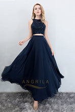 Two Piece A-Line/Princess Scoop Neck Chiffon Prom Dress With Sequins