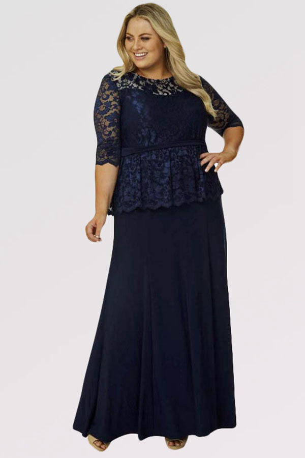Sheathcolumn Scoop Neck Lace Plus Size Prom Dress With 12 Sleeves