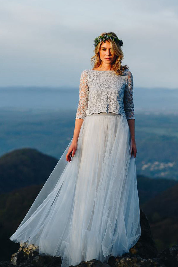 A-Line/Princess Two Piece Lace Tulle Beach Wedding Dress with 1/2 Sleeves