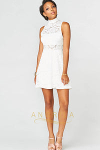 Sheath/Column High Neck Lace Short Cocktail Dresses